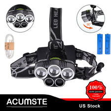 80000LM 5LED Headlamp Headlight Rechargeable Light+USB Cable+2x 18650 Batteries