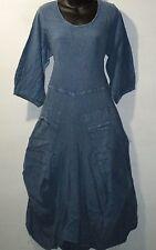 Dress Fits L XL 0X 1X Plus Soft Organic Cotton Big Pockets Denim Blue NWT 999A
