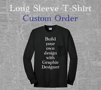 Custom Design Logo Personalized Tee Shirt Black White Long Sleeve T-Shirt