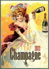 2022 Wall Calendar (12 pgs) Champagne Ladies Vintage Alcohol Ads Posters M490
