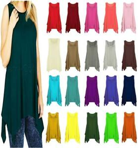 Ladies Womens Sleeveless Scoop Neck Plain Flared Hanky Hem Casual Vest Top