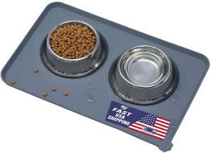 Dog Cat Pet Feeding Mats,Anti-Slip Pet Bowl Mats Silicone Waterproof, ( 19×12)