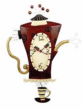 Dramatic Art Large STEAMIN' TEA Pot Teapot Cafe Wall Clock by Allen Designs