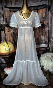 Bohemian Maxi Sweep Gown Novelty Goddess Sheer Gauze Boho Rare Wedding Dress S