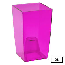 PINK Medium 20cm Tall Transparent Office Desk Orchid Home Flower Square Pot