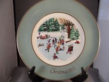 "Avon 1975 Christmas Plate ""Skaters On The Pond"" By Enoch Wedgwood England W/Box"