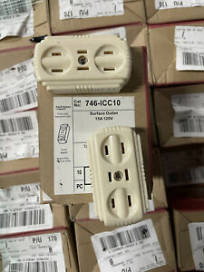 10 Pack - 15 AMP Surface Outlet 5-15R IVORY PASS & Seymour 746-Icc10
