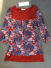 M&S RED & BLUE PATTERN LONG TOP WITH DECORATIVE YOKE & 3/4 SLEEVES -SIZE 8- BNWT