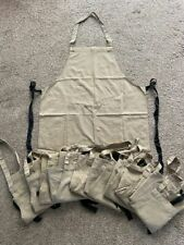 More details for set of 10 very good condition ex-rental khaki brown bib aprons, with pocket