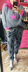GREY LEOPARD PRINT PLUS SIZE Stretch Cotton Jersey Jog Pant O/SIZE14-22 Italy