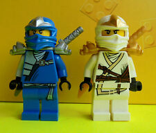 2x LEGO NINJAGO PERSONAGGI Zane ZX e Jay ZX NINJA dal set 9449 con armi