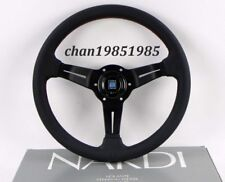 "Nardi Steering Wheel Deep Corn 350mm 14"" Black Perforated Leather (Red Stitch)"