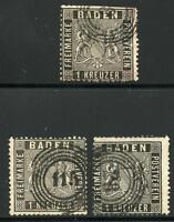 GERMANY STATES BADEN SCOTT# 10 MICHEL# 9 USED LOT OF 3 AS SHOWN
