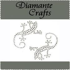 2 Clear Diamante Geko Lizard Self Adhesive Craft Rhinestone Gems