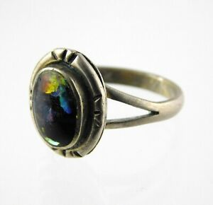 Vintage Southwestern Sterling Silver Dichroic Glass Solitaire Ring 925 Size 6.5
