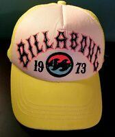 "Vintage ""1973"" Billabong Neon Yellow Mesh Snapback Trucker Cap - Good Condition"