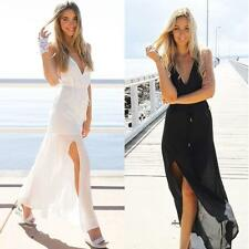 Sexy V neck Backless Women Sleeveless Halter Beach long Maxi Slit Sundress Dress