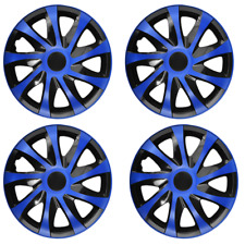 14 Inch Wheel Trim Set Gloss Black Set of 4 Univers Hub Caps Covers [DRCOBlue]