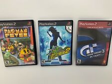 LOT OF 3 SONY PS2 GAMES. GRAN TURISMO 3, DANCE EXTREME 2, PAC-MAN FEVER.  LOT4