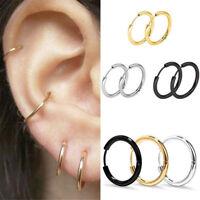 3Pairs Men Women Punk Stainless Steel Punk Ear Hoop Circle Earrings Jewelry Gift