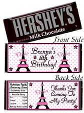 12 Eiffel Tower Paris Birthday Party Or Baby Shower Hershey Candy Bar Wrapper
