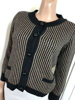 Laura Ashley Black & Beige Angora Blend Micro Check Button Up Cardigan UK 14