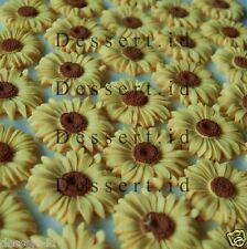 12 Sunflower colours sugar paste edible cupcake topper 4 cm flower