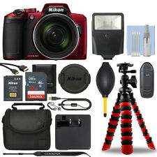 Nikon Coolpix B600 16MP Digital Camera Red + 32GB Deluxe Accessory Package