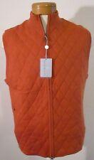 NWT Martin Mens Merino Quilted Full Zip Sweater Vest M Russet MSRP$140