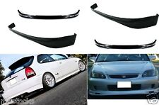 2 X 1999-2000 CIVIC HATCHBACK 3D PU BLACK ADD-ON FRONT + REAR BUMPER LIP SPOILER