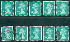 GREAT BRITAIN SG-X959, SCOTT # MH-114 MACHIN USED, 10 STAMPS, GREAT PRICE!