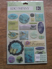 K & CO BOTANICAL WORD CLEARLY YOURS STICKERS BNIP
