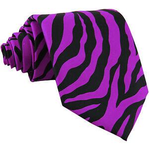 New Polyester Zebra Animal Print Formal Party occasion Necktie Purple dahila