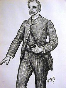 Paul Renouard PORTRAIT WILLIAM WILSON WEST VIRGINIA 1888 Antique Print Matted