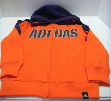 ADIDAS Boy's Zipper Front Hoodie sz 4 Bright Orange NEW NWT