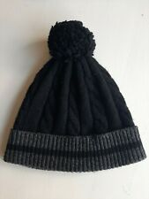 Dents Wool Pom Pom Hat Adult Size Medium Black & Grey Unisex Men's Women's