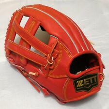 """ZETT Pro Model 3927 Red 12.5"""" Leather Left-Handed Thrower Fielder Baseball Glove"""
