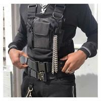 Black Vest Hip Hop Streetwear Functional Tactical Harness Nylon Chest Bag
