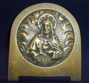 GORGEOUS & OLD DESK STAND PLAQUE SACRED HEART JESUS MASSIVE BRONZE HIGH RELIEF