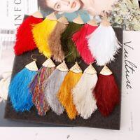 Chunky Women Bohemian Long Tassel Earrings Boho Hook Drop Dangle Fringe Jewelry