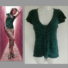 Sparrow Knit top L M Pure cotton Dark green Short sleeve Pleats Cardigan Sweater