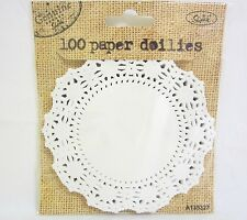 "100 x White Paper Doilies Small  Kraft Craft Doillies 11cm 4.3"" Wedding Party"