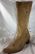 LAVORAZIONE ARTIGIANA Beige Suede Mid Calf Zipper Boots Size US 8M EUR 38/5