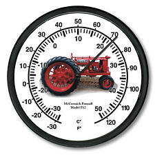 """New McCormick Farmall Model F-12 Tractor Wall Thermometer 10"""" Round"""