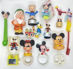 Vintage Disney Toys Lot Mickey Mouse Minnie Goofy Donald Duck Toy Figures Mattel