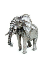 "African Art Keyan Recycled Metal Baby Elephant Sculpture 20""L x 7""W x (14-20)""T"
