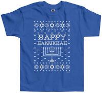 Threadrock Kids Happy Hanukkah Ugly Sweater Toddler T-shirt Jewish Humor