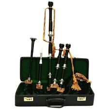 SL Scottish Great Highland Bagpipe African Black Wood Engraved Mounts Hard Case