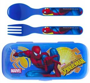 Spider-Man Fork & Spoon W/Travel Case - Perfect for Super Hero Lunchbox! - New!