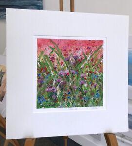 Wild Vibrant flowers, 'Flower Power' print 40x40cm painting by Julia Pankhurst